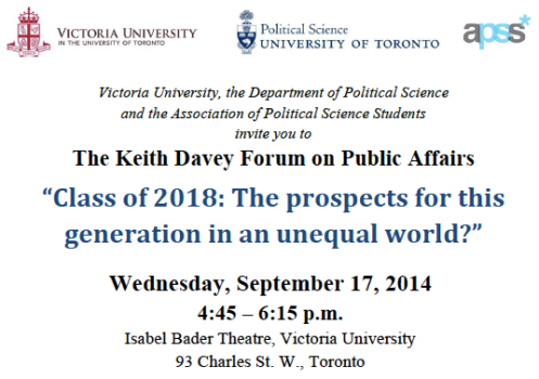 Keith Davey Forum Invitation Victoria University at the University of Toronto 2014