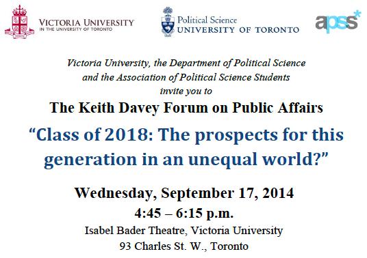 Keith Davey Forum Invitation Victoria University at the University of Toronto 2014