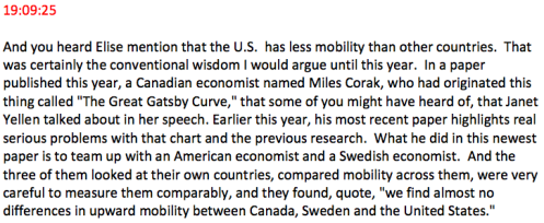Intelligence Squared US excerpt from Income inequality impairs the American dream by Winship on Corak and the Great Gatsby Curve