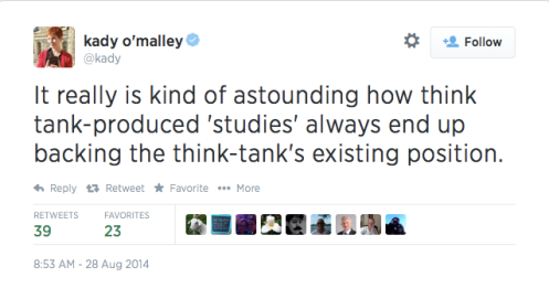 Kady O'Malley Tweet on Think Tanks 1