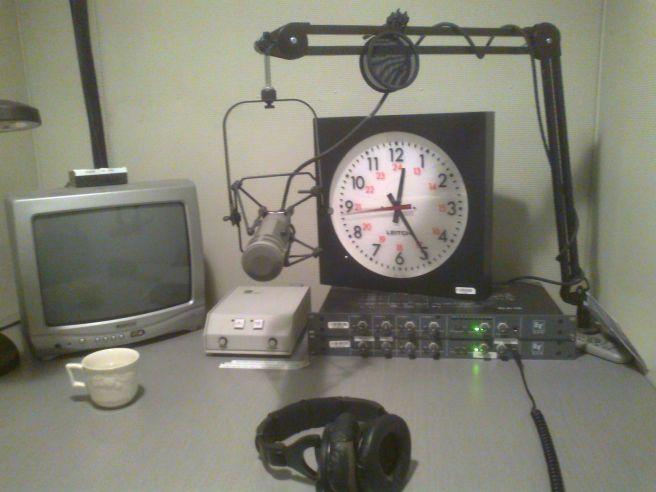 Sound booth at the CBC Studio in Ottawa