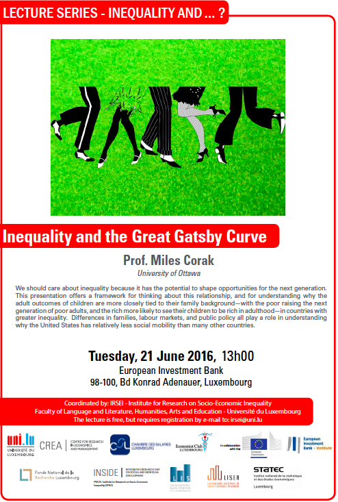 Lecture series Inequality and Miles Corak European Investment Bank Luxembourg