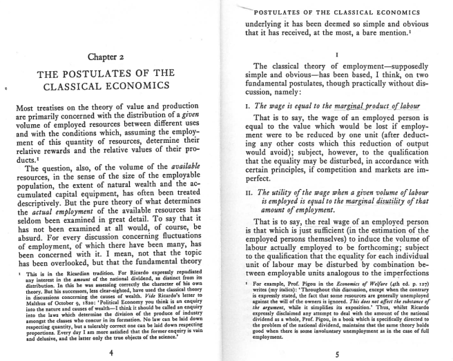 The opening pages of Chapter 2 of Keynes's General Theory